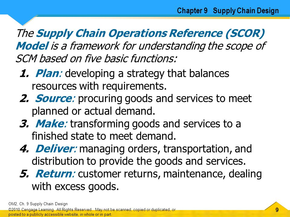 99 OM2, Ch. 9 Supply Chain Design ©2010 Cengage Learning. All Rights Reserved. May not be scanned, copied or duplicated, or posted to a publicly acces