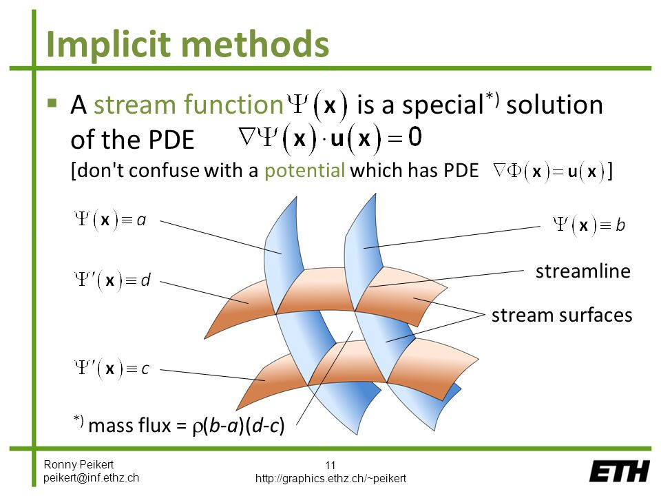 Ronny Peikert peikert@inf.ethz.ch Implicit methods  A stream function is a special *) solution of the PDE [don t confuse with a potential which has PDE ] 11 http://graphics.ethz.ch/~peikert streamline stream surfaces *) mass flux =  (b-a)(d-c)