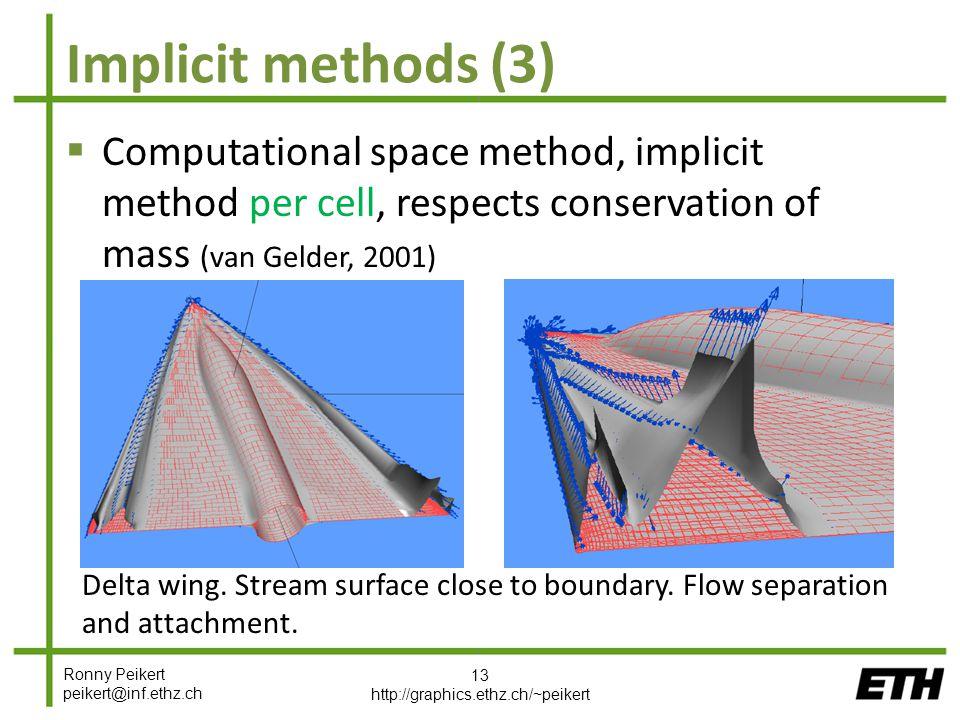 Ronny Peikert peikert@inf.ethz.ch Implicit methods (3)  Computational space method, implicit method per cell, respects conservation of mass (van Gelder, 2001) 13 http://graphics.ethz.ch/~peikert Delta wing.