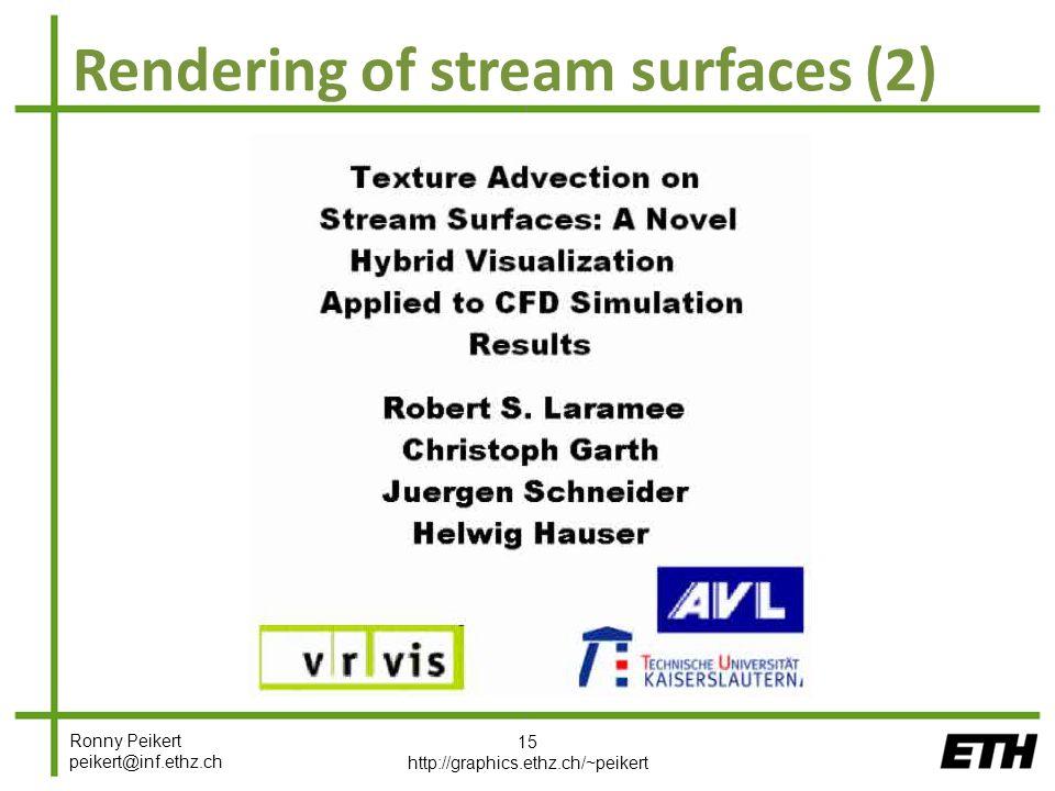 Ronny Peikert peikert@inf.ethz.ch Rendering of stream surfaces (2) 15 http://graphics.ethz.ch/~peikert