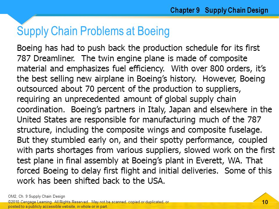 10 OM2, Ch. 9 Supply Chain Design ©2010 Cengage Learning. All Rights Reserved. May not be scanned, copied or duplicated, or posted to a publicly acces