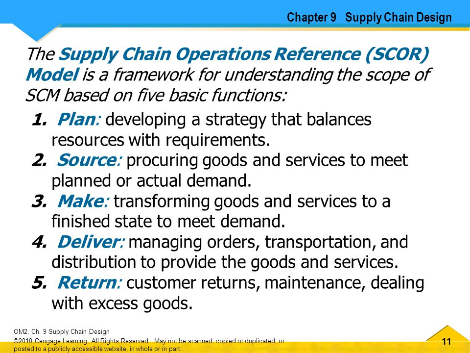 11 OM2, Ch. 9 Supply Chain Design ©2010 Cengage Learning. All Rights Reserved. May not be scanned, copied or duplicated, or posted to a publicly acces