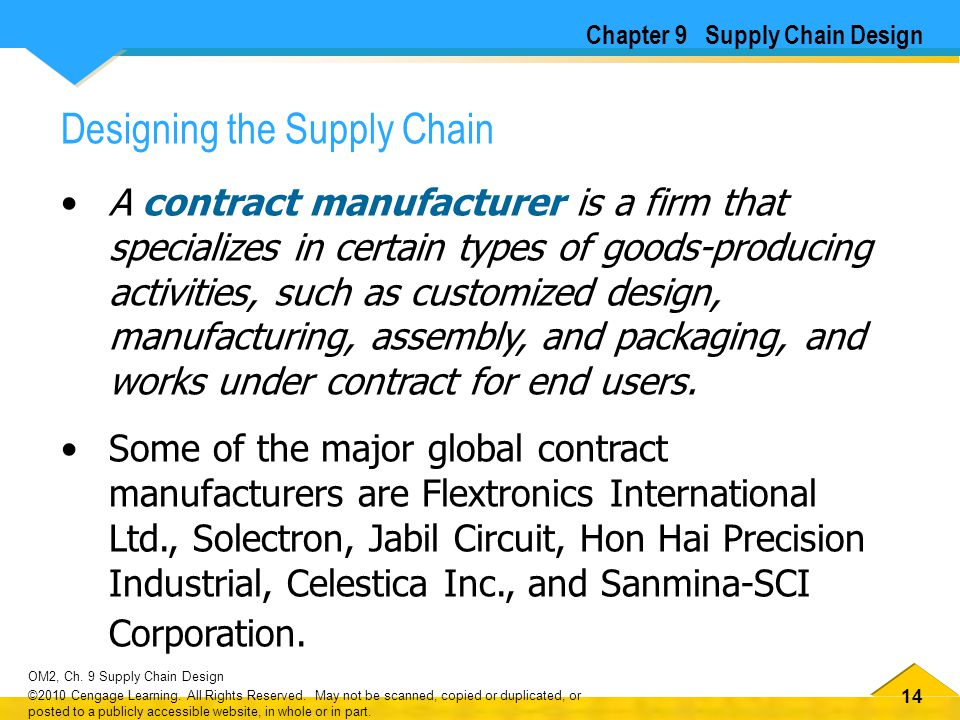 14 OM2, Ch. 9 Supply Chain Design ©2010 Cengage Learning. All Rights Reserved. May not be scanned, copied or duplicated, or posted to a publicly acces