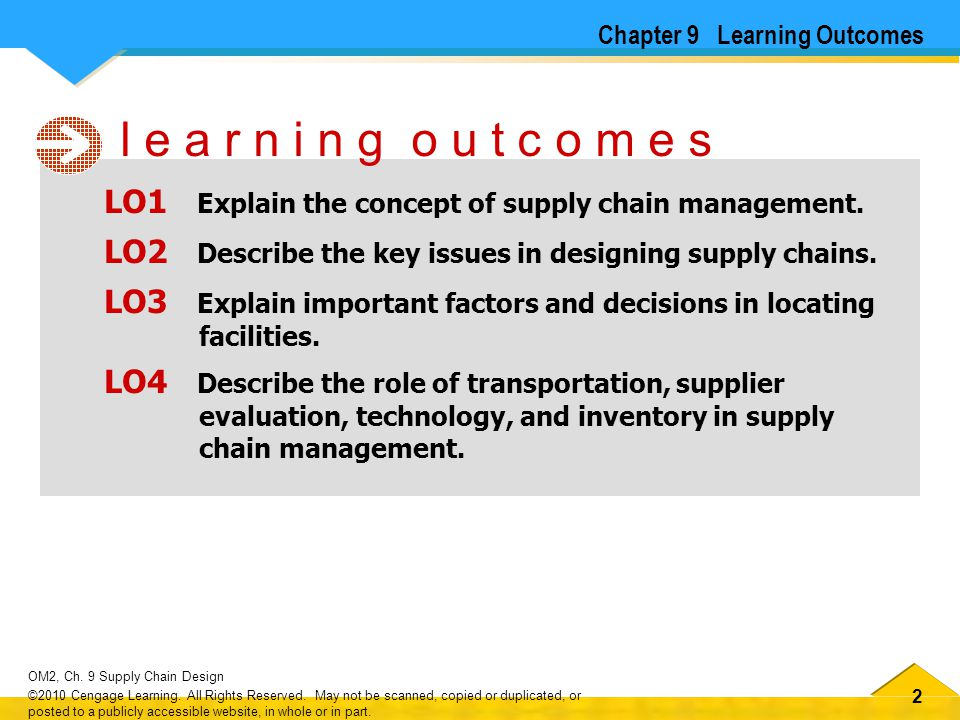22 OM2, Ch. 9 Supply Chain Design ©2010 Cengage Learning. All Rights Reserved. May not be scanned, copied or duplicated, or posted to a publicly acces