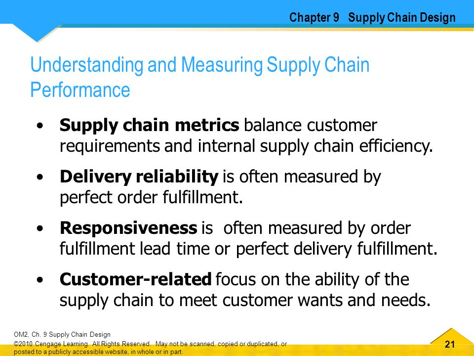 21 OM2, Ch. 9 Supply Chain Design ©2010 Cengage Learning. All Rights Reserved. May not be scanned, copied or duplicated, or posted to a publicly acces