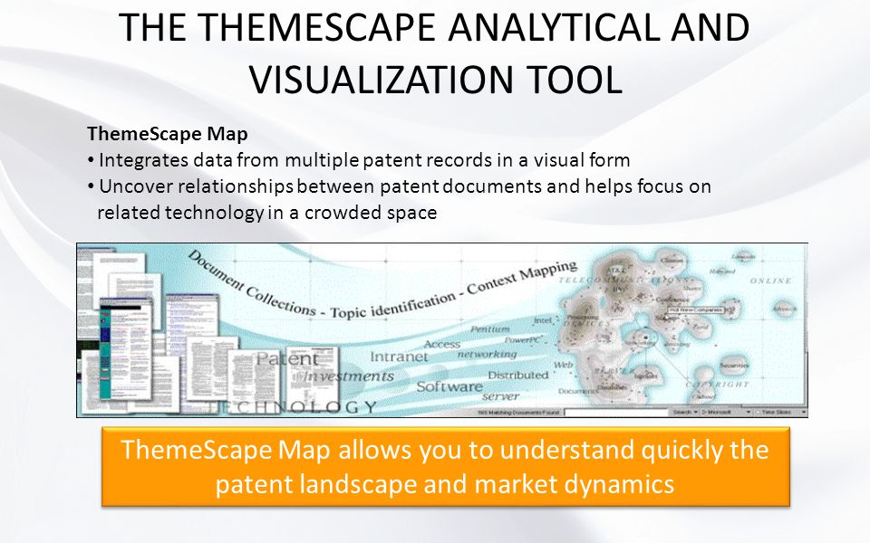 THE THEMESCAPE ANALYTICAL AND VISUALIZATION TOOL ThemeScape Map Integrates data from multiple patent records in a visual form Uncover relationships be