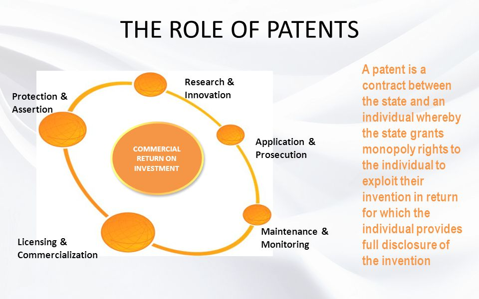 THE ROLE OF PATENTS Research & Innovation Application & Prosecution Maintenance & Monitoring Licensing & Commercialization Protection & Assertion COMM