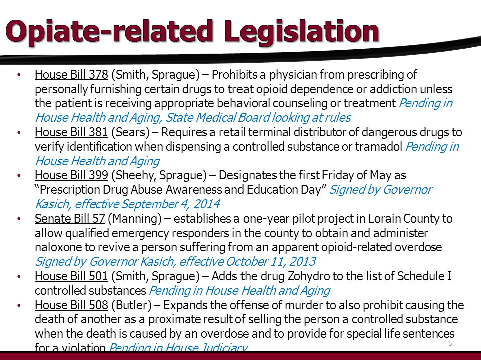 House Bill 378 (Smith, Sprague) – Prohibits a physician from prescribing of personally furnishing certain drugs to treat opioid dependence or addiction unless the patient is receiving appropriate behavioral counseling or treatment Pending in House Health and Aging, State Medical Board looking at rules House Bill 381 (Sears) – Requires a retail terminal distributor of dangerous drugs to verify identification when dispensing a controlled substance or tramadol Pending in House Health and Aging House Bill 399 (Sheehy, Sprague) – Designates the first Friday of May as Prescription Drug Abuse Awareness and Education Day Signed by Governor Kasich, effective September 4, 2014 Senate Bill 57 (Manning) – establishes a one-year pilot project in Lorain County to allow qualified emergency responders in the county to obtain and administer naloxone to revive a person suffering from an apparent opioid-related overdose Signed by Governor Kasich, effective October 11, 2013 House Bill 501 (Smith, Sprague) – Adds the drug Zohydro to the list of Schedule I controlled substances Pending in House Health and Aging House Bill 508 (Butler) – Expands the offense of murder to also prohibit causing the death of another as a proximate result of selling the person a controlled substance when the death is caused by an overdose and to provide for special life sentences for a violation Pending in House Judiciary 5