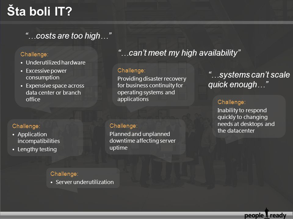 4 Progression towards Dynamic IT will Reduce Cost, Improve Service Levels, and Drive Agility BasicStandardizedRationalizedDynamic Cost CenterEfficient Cost CenterBusiness EnablerStrategic Asset Uncoordinated, manual Infrastructure Managed IT infrastructure with limited automation and knowledge capture Managed and consolidated IT infrastructure with extensive automation; knowledge captured and reused Fully automated management, dynamic resource usage, business linked SLAs; knowledge capture automated and use automated …and Virtualization technologies help the progression…