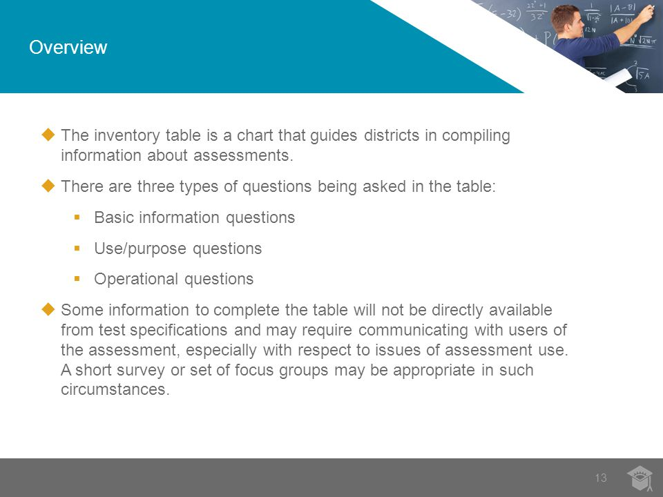 Overview 13  The inventory table is a chart that guides districts in compiling information about assessments.