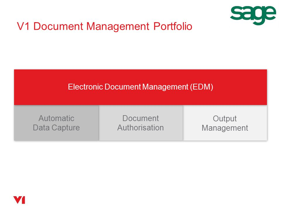 V1 Purchase Invoice Automation Electronic Document Management (EDM) Automatic Data Capture Document Authorisation Output Management Scan paper invoices Import PDF invoices Read invoices with OCR Route queries for approval Update Sage