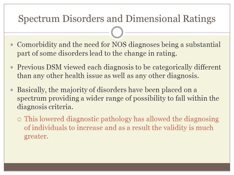 Spectrum Disorders and Dimensional Ratings Comorbidity and the need for NOS diagnoses being a substantial part of some disorders lead to the change in