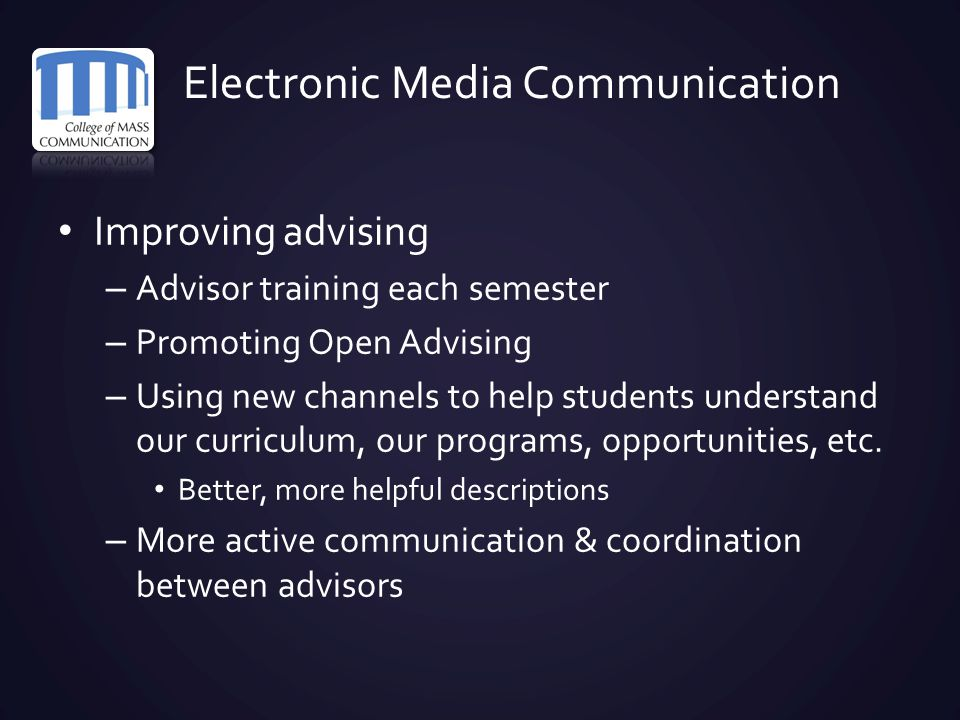 Electronic Media Communication Improving advising – Advisor training each semester – Promoting Open Advising – Using new channels to help students und