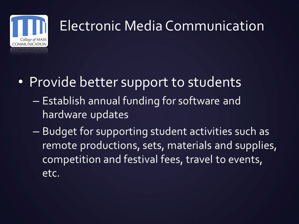 Electronic Media Communication Provide better support to students – Establish annual funding for software and hardware updates – Budget for supporting