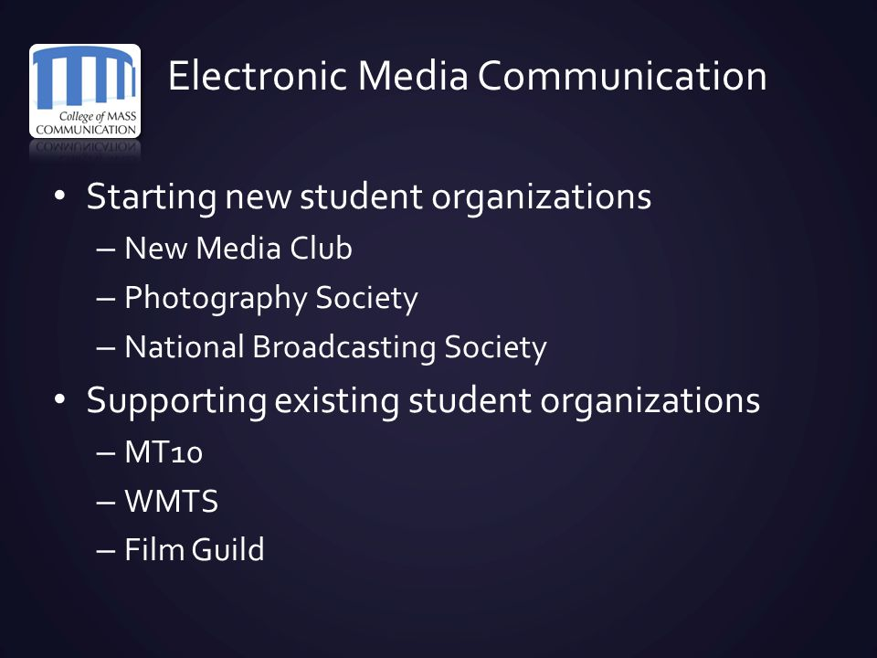 Electronic Media Communication Starting new student organizations – New Media Club – Photography Society – National Broadcasting Society Supporting ex