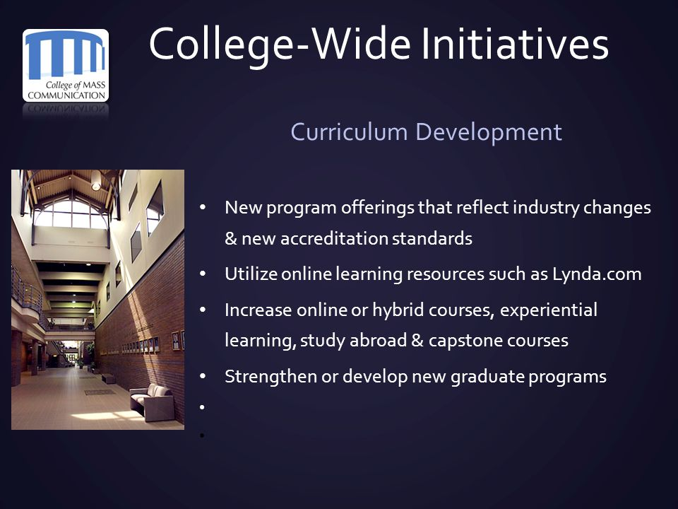 College-Wide Initiatives Curriculum Development New program offerings that reflect industry changes & new accreditation standards Utilize online learn