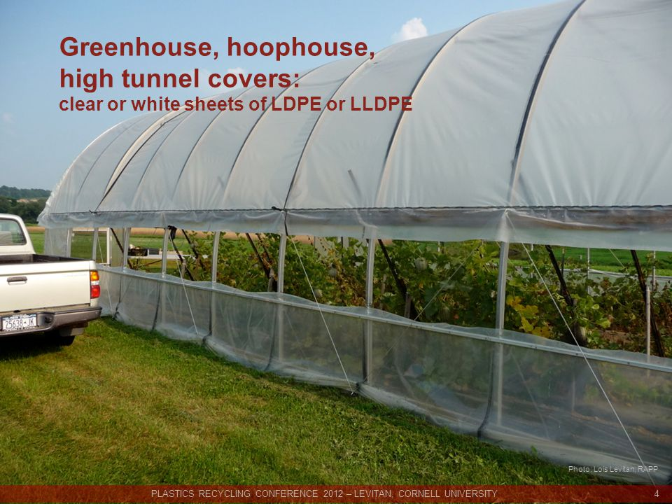 Greenhouse, hoophouse, high tunnel covers: clear or white sheets of LDPE or LLDPE PLASTICS RECYCLING CONFERENCE 2012 – LEVITAN, CORNELL UNIVERSITY 4 Photo: Lois Levitan, RAPP