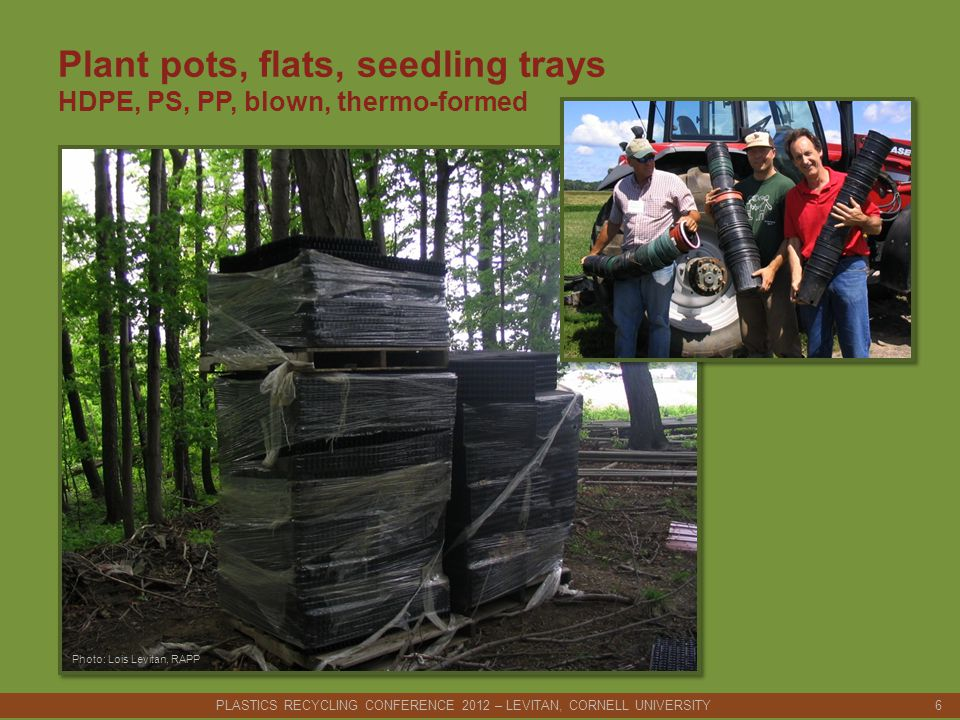 Plant pots, flats, seedling trays HDPE, PS, PP, blown, thermo-formed PLASTICS RECYCLING CONFERENCE 2012 – LEVITAN, CORNELL UNIVERSITY 6 Photo: Lois Levitan, RAPP