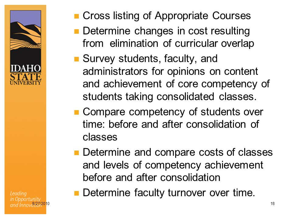 Cross listing of Appropriate Courses Determine changes in cost resulting from elimination of curricular overlap Survey students, faculty, and administ