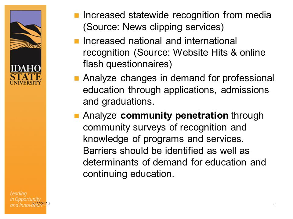 Increased statewide recognition from media (Source: News clipping services) Increased national and international recognition (Source: Website Hits & online flash questionnaires) Analyze changes in demand for professional education through applications, admissions and graduations.