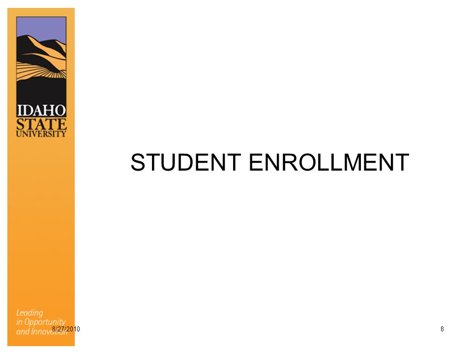 STUDENT ENROLLMENT 8/27/2010 8