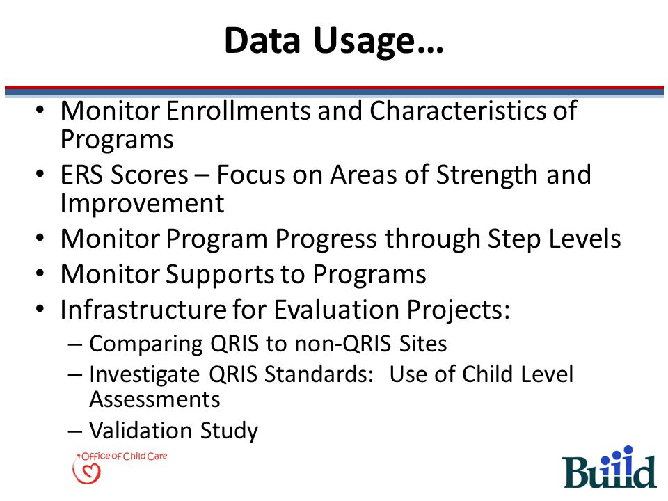 Data Usage… Monitor Enrollments and Characteristics of Programs ERS Scores – Focus on Areas of Strength and Improvement Monitor Program Progress throu