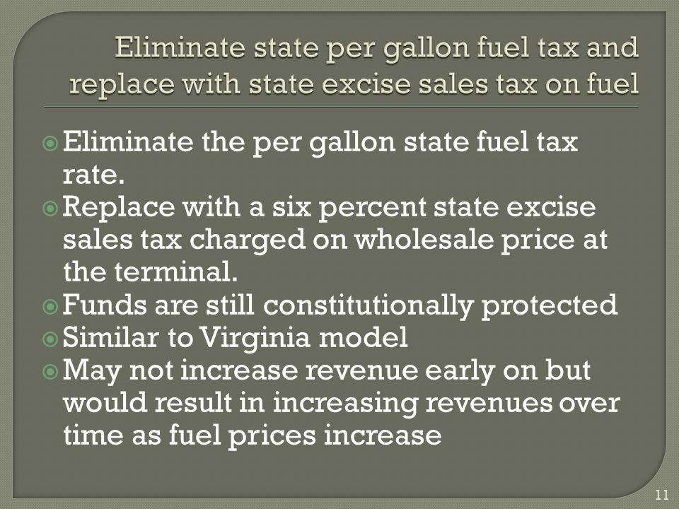  Eliminate the per gallon state fuel tax rate.