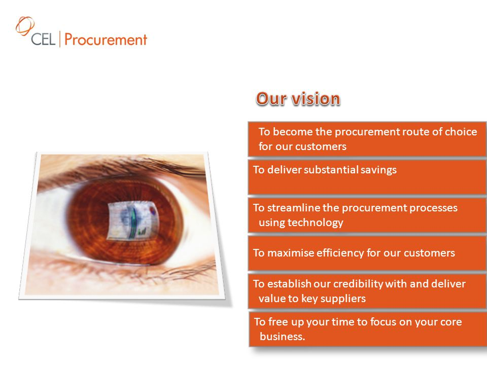 To become the procurement route of choice for our customers To deliver substantial savings To streamline the procurement processes using technology To