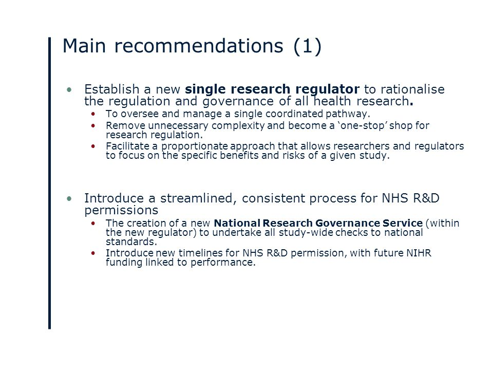 Main recommendations (2) Streamlining access to patient data while maintaining appropriate safeguards.