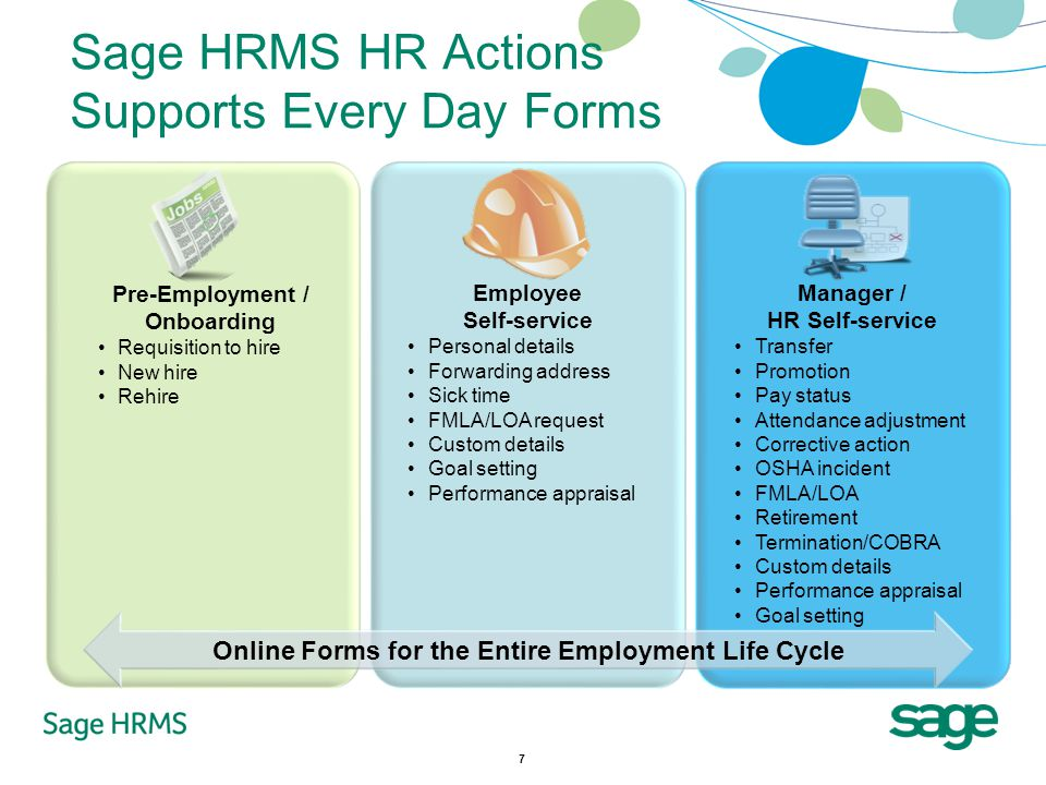7 Sage HRMS HR Actions Supports Every Day Forms Online Forms for the Entire Employment Life Cycle Pre-Employment / Onboarding Requisition to hire New hire Rehire Employee Self-service Personal details Forwarding address Sick time FMLA/LOA request Custom details Goal setting Performance appraisal Manager / HR Self-service Transfer Promotion Pay status Attendance adjustment Corrective action OSHA incident FMLA/LOA Retirement Termination/COBRA Custom details Performance appraisal Goal setting