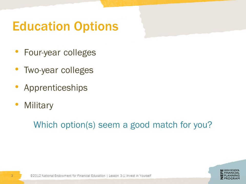 Education Options Four-year colleges Two-year colleges Apprenticeships Military Which option(s) seem a good match for you.