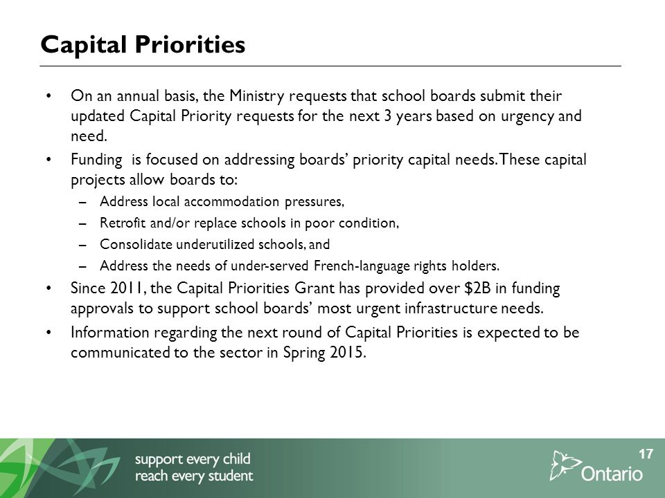Capital Priorities On an annual basis, the Ministry requests that school boards submit their updated Capital Priority requests for the next 3 years based on urgency and need.
