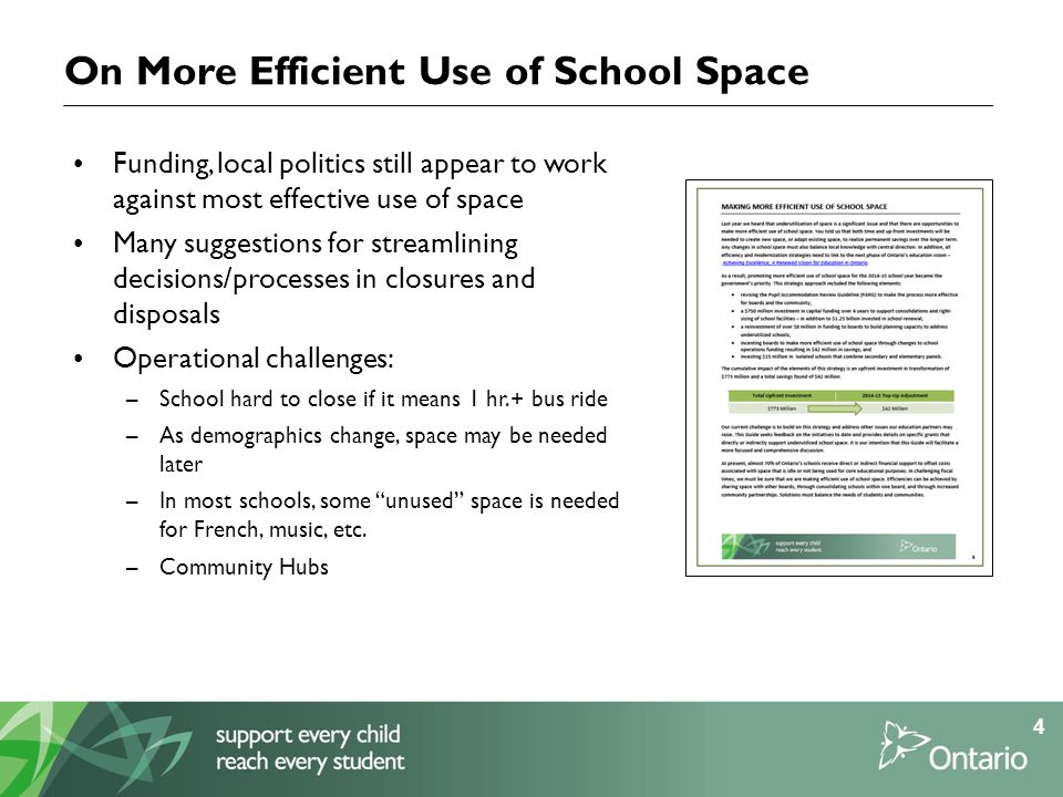 On More Efficient Use of School Space Funding, local politics still appear to work against most effective use of space Many suggestions for streamlining decisions/processes in closures and disposals Operational challenges: –School hard to close if it means 1 hr.+ bus ride –As demographics change, space may be needed later –In most schools, some unused space is needed for French, music, etc.