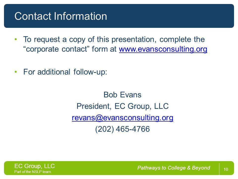EC Group, LLC Part of the NSLP team.