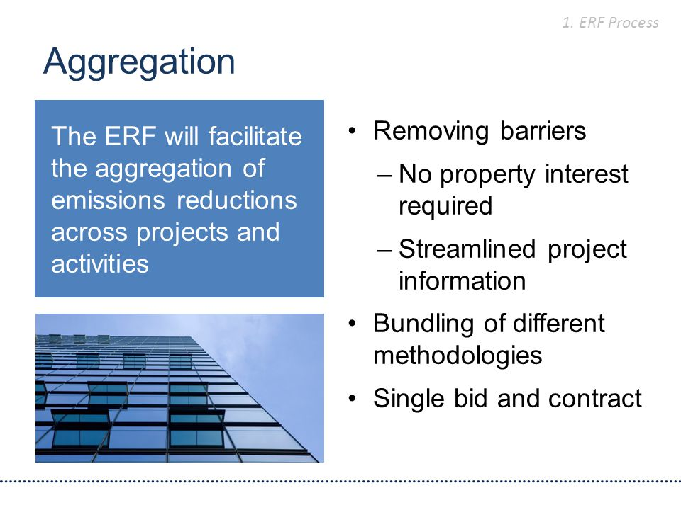 Aggregation Removing barriers –No property interest required –Streamlined project information Bundling of different methodologies Single bid and contract The ERF will facilitate the aggregation of emissions reductions across projects and activities 1.