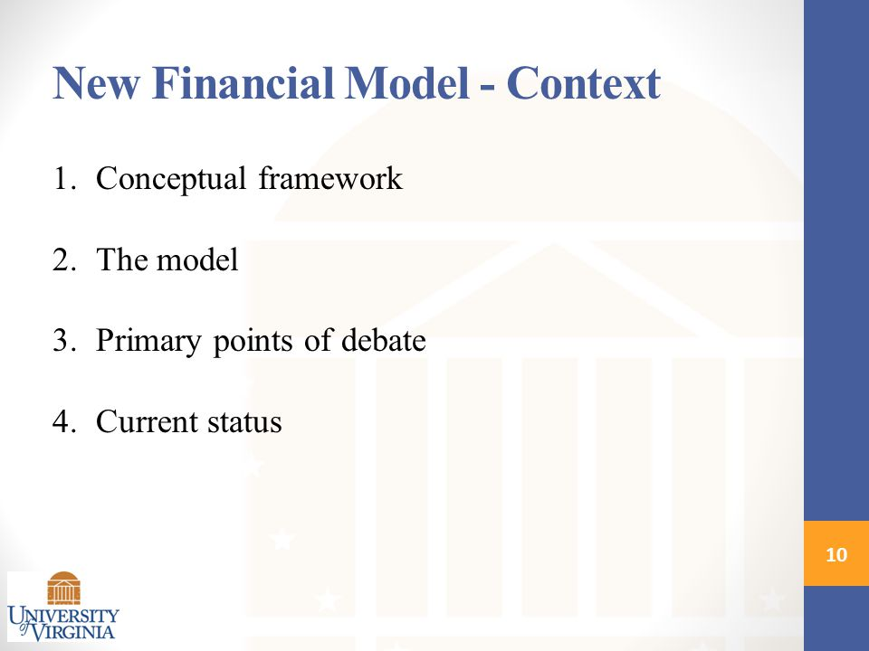 1.Conceptual framework 2.The model 3.Primary points of debate 4.Current status New Financial Model - Context 10