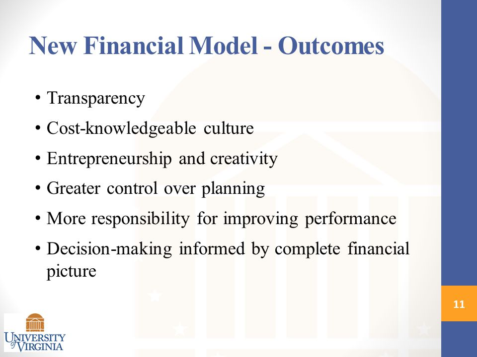 New Financial Model - Outcomes Transparency Cost-knowledgeable culture Entrepreneurship and creativity Greater control over planning More responsibili