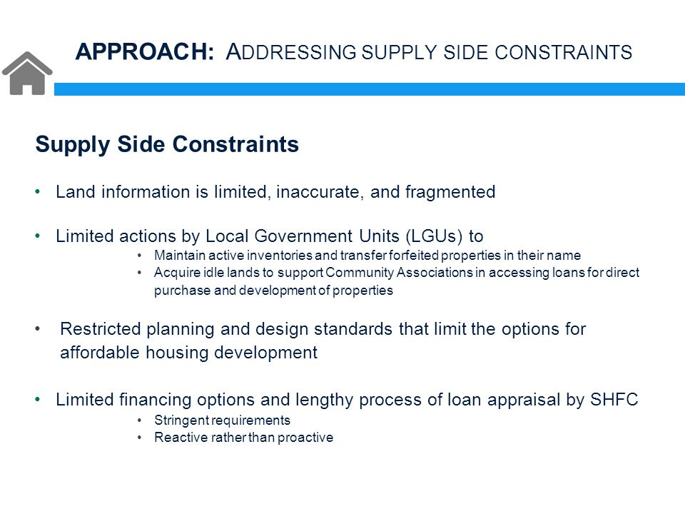 APPROACH: A DDRESSING SUPPLY SIDE CONSTRAINTS Supply Side Constraints Land information is limited, inaccurate, and fragmented Limited actions by Local Government Units (LGUs) to Maintain active inventories and transfer forfeited properties in their name Acquire idle lands to support Community Associations in accessing loans for direct purchase and development of properties Restricted planning and design standards that limit the options for affordable housing development Limited financing options and lengthy process of loan appraisal by SHFC Stringent requirements Reactive rather than proactive
