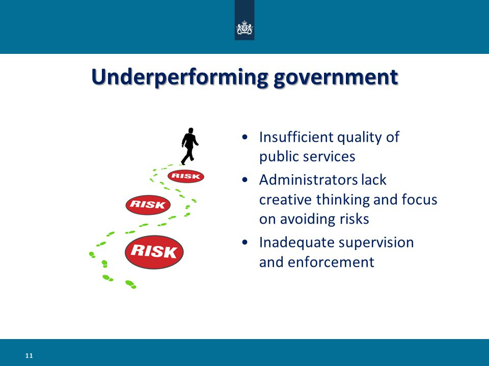 Insufficient quality of public services Administrators lack creative thinking and focus on avoiding risks Inadequate supervision and enforcement Underperforming government 11