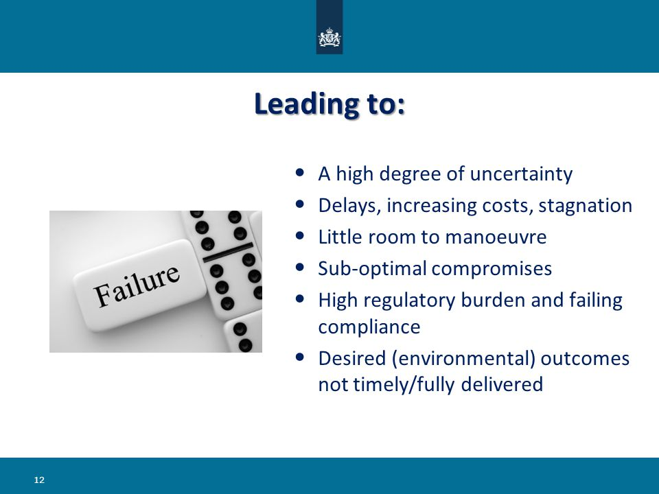 Leading to: A high degree of uncertainty Delays, increasing costs, stagnation Little room to manoeuvre Sub-optimal compromises High regulatory burden