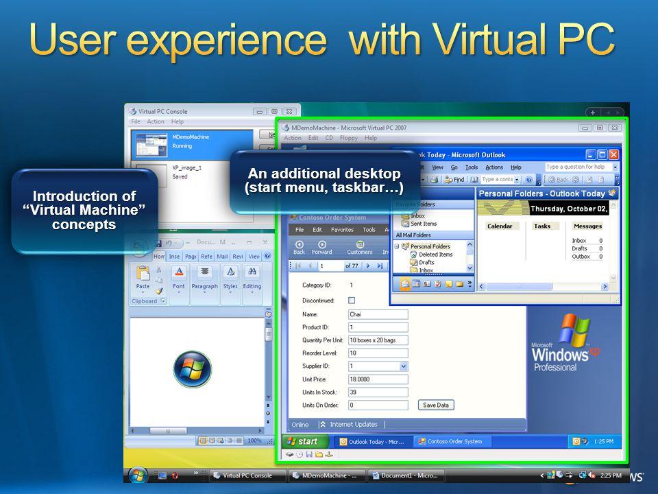 "Introduction of ""Virtual Machine"" concepts An additional desktop (start menu, taskbar…)"
