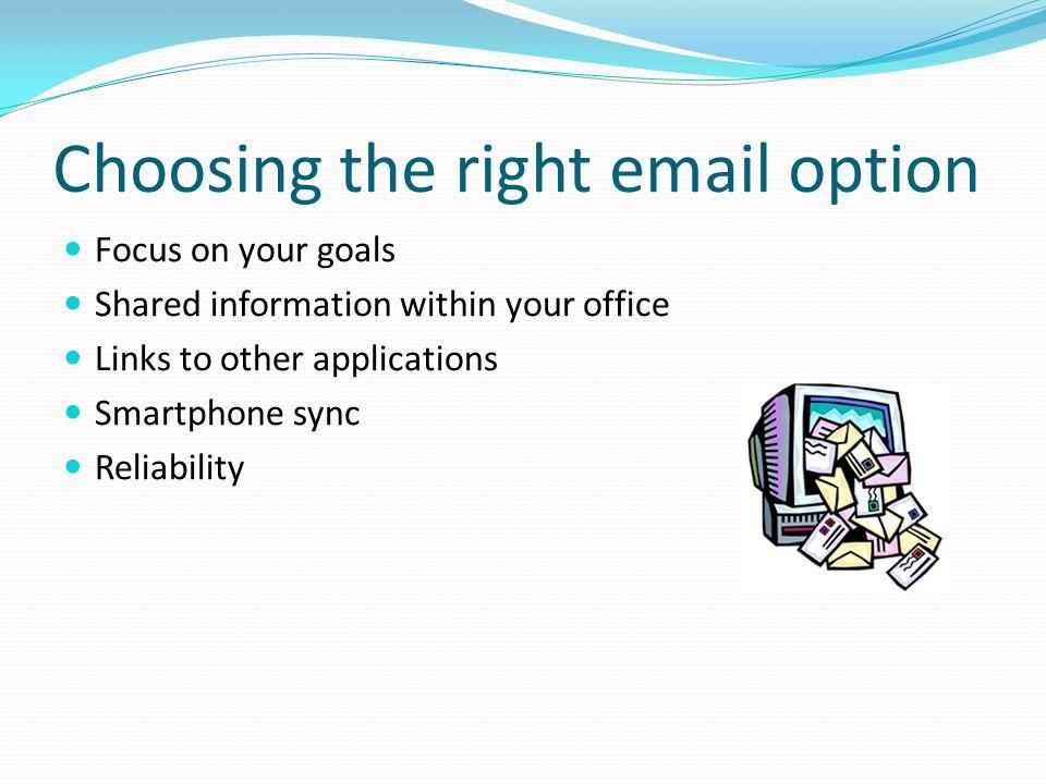 Email Options Outlook v.Exchange v. Hosted Exchange v.