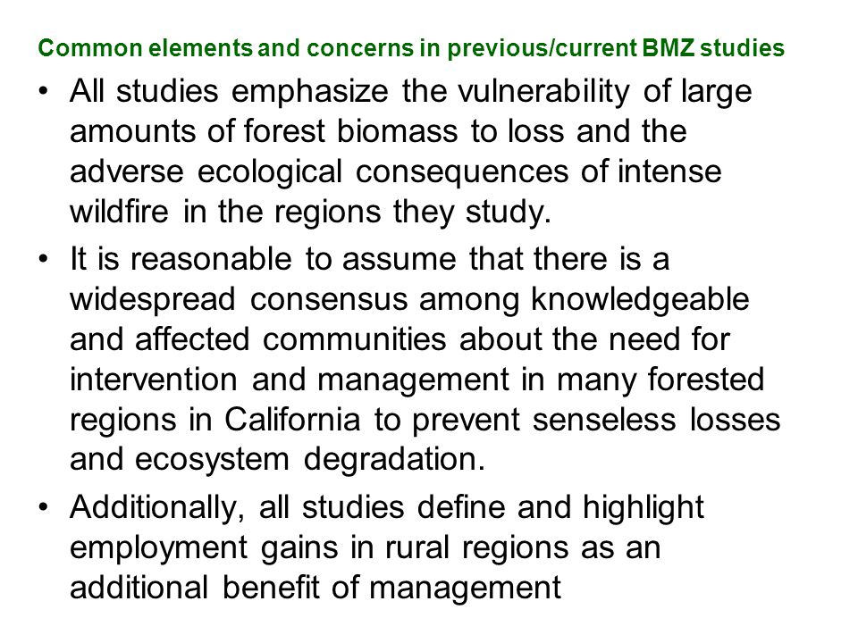 Common elements and concerns in previous/current BMZ studies All studies emphasize the vulnerability of large amounts of forest biomass to loss and th