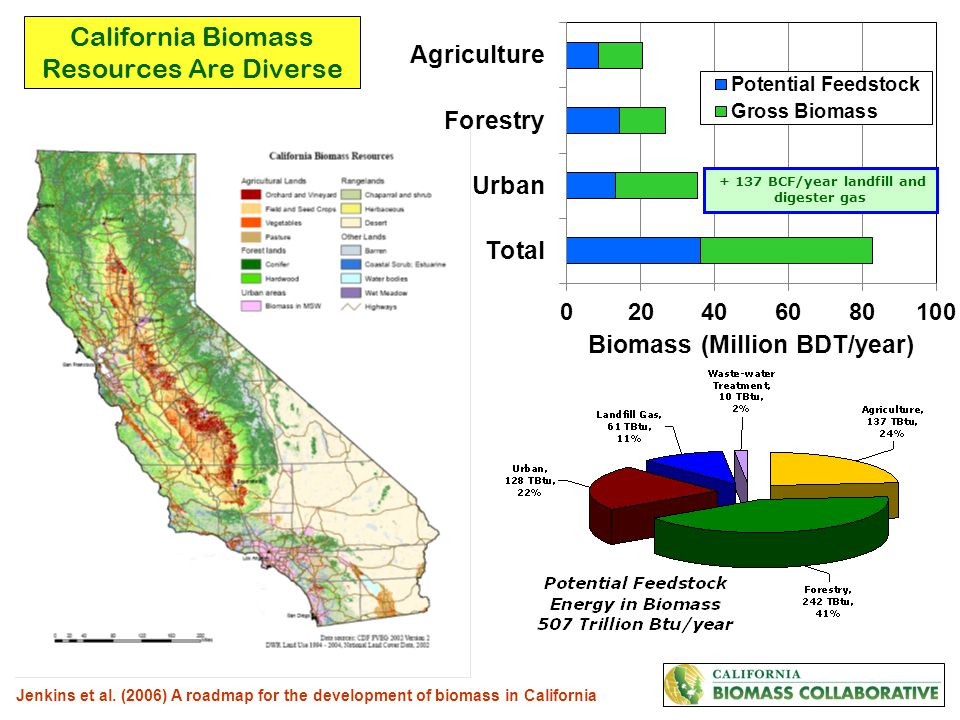 California Biomass Resources Are Diverse Jenkins et al. (2006) A roadmap for the development of biomass in California