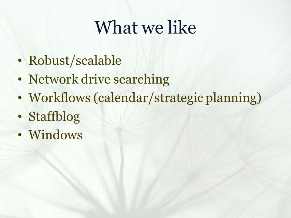 What we like Robust/scalable Network drive searching Workflows (calendar/strategic planning) Staffblog Windows
