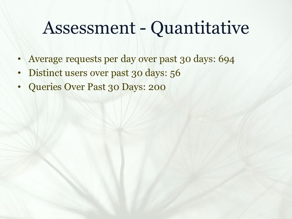 Assessment - Quantitative Average requests per day over past 30 days: 694 Distinct users over past 30 days: 56 Queries Over Past 30 Days: 200
