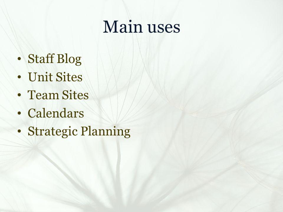 Main uses Staff Blog Unit Sites Team Sites Calendars Strategic Planning