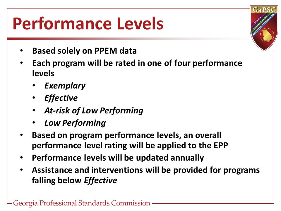 Performance Levels Based solely on PPEM data Each program will be rated in one of four performance levels Exemplary Effective At-risk of Low Performin