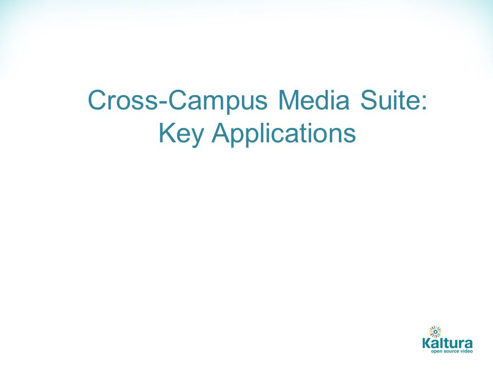 Cross-Campus Media Suite: Key Applications