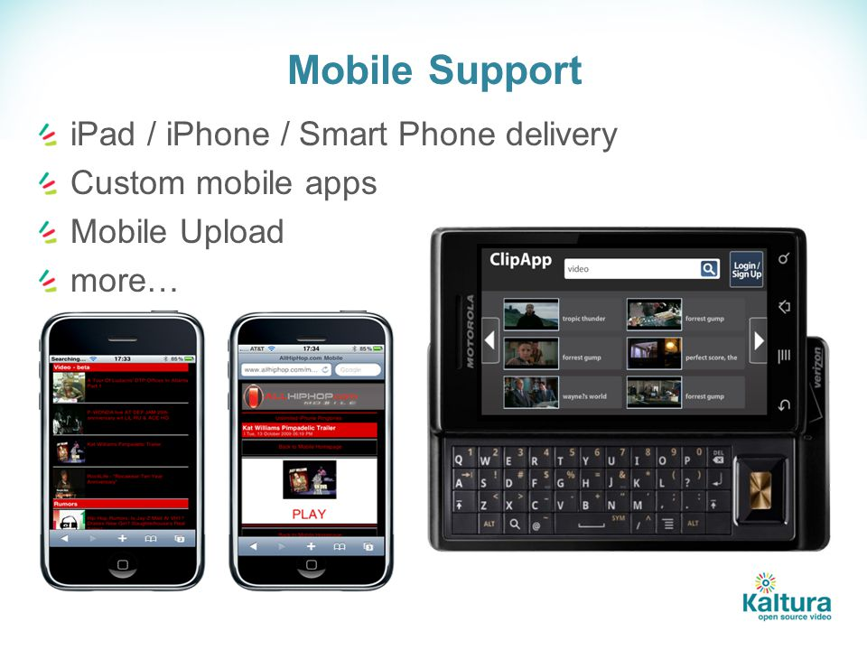 Mobile Support iPad / iPhone / Smart Phone delivery Custom mobile apps Mobile Upload more…